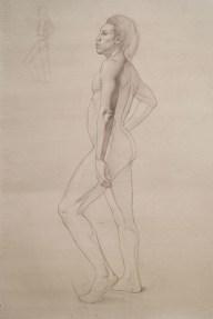 Rebecca C Gray, Standing Male Nude Profile, study, 2014.