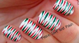 Abstract Candy Cane Nail art