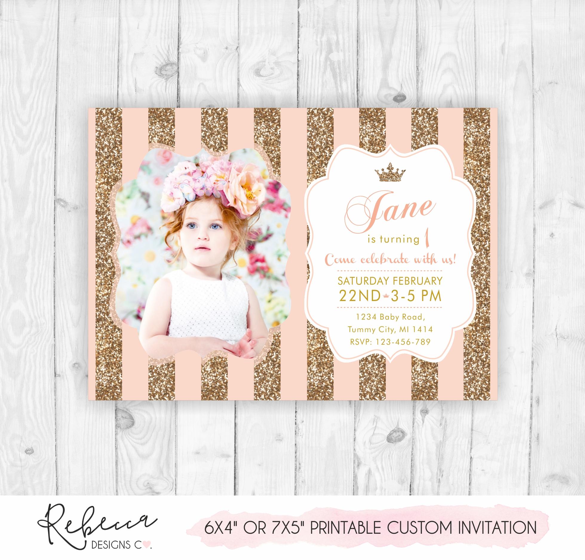 Glitter Invitation First Birthday Girl Pink Invitation