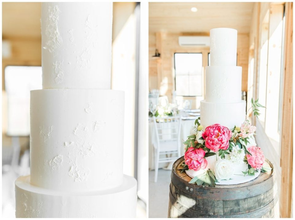 Wedding cake. Liberty Baking Company. Simple. White. Pink flowers.