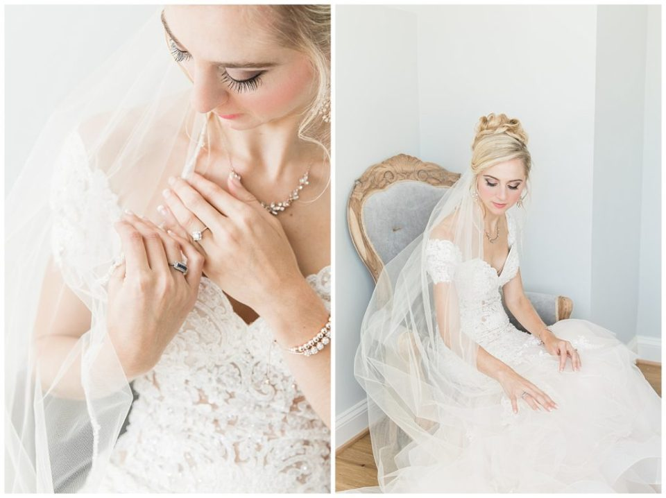 Wedding. Dress. Rings. Veil. Soft. Romantic. Bridal portrait. Rebecca Dotson Photography.