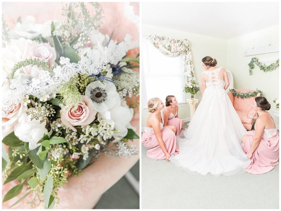 Bride and bridesmaids. Getting ready. Pink bridesmaid dress. Winchester floral.