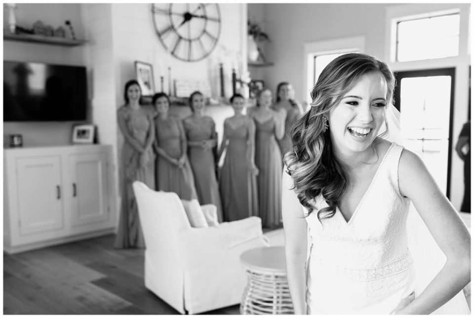 First look. Bridesmaids. The Barn at Willow Brook.