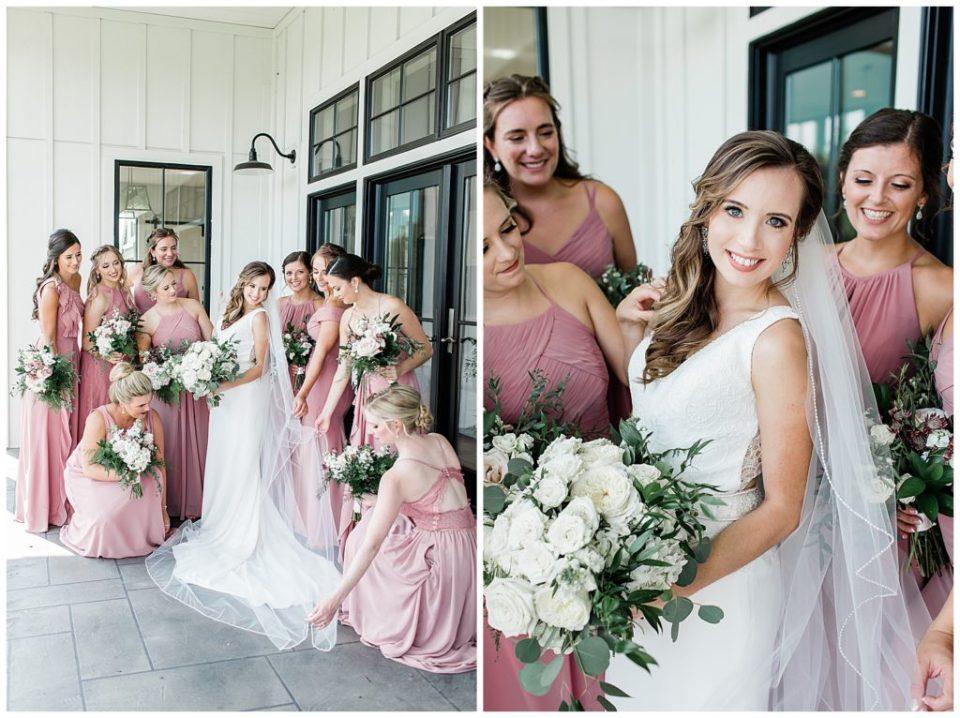 Bride. Bridesmaids. The Barn at Willow Brook.