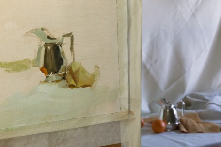 The set up, was quite simple. The still life was lit by overcast light through a window.
