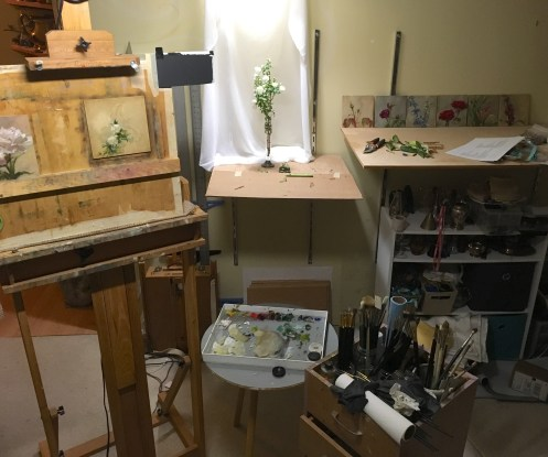"""My studio set up while painting """"Purpose"""". A late night, but it was successful!"""