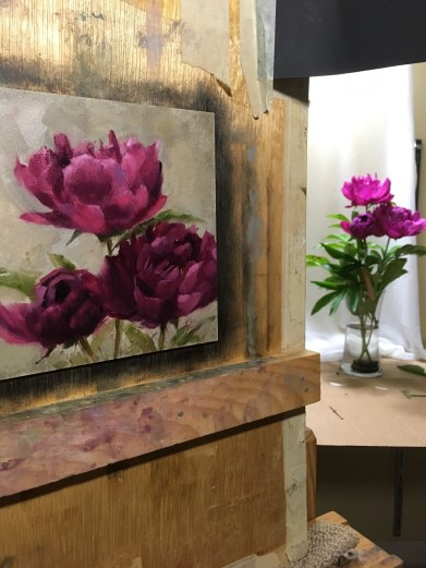 Deep magenta peonies from my garden. I started these early in the morning...