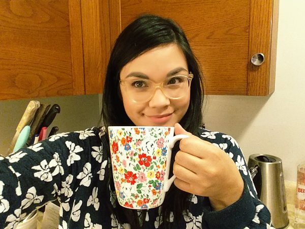 "Me, drinking coffee from my Cath Kidston ""Mews Ditsy"" mug!"