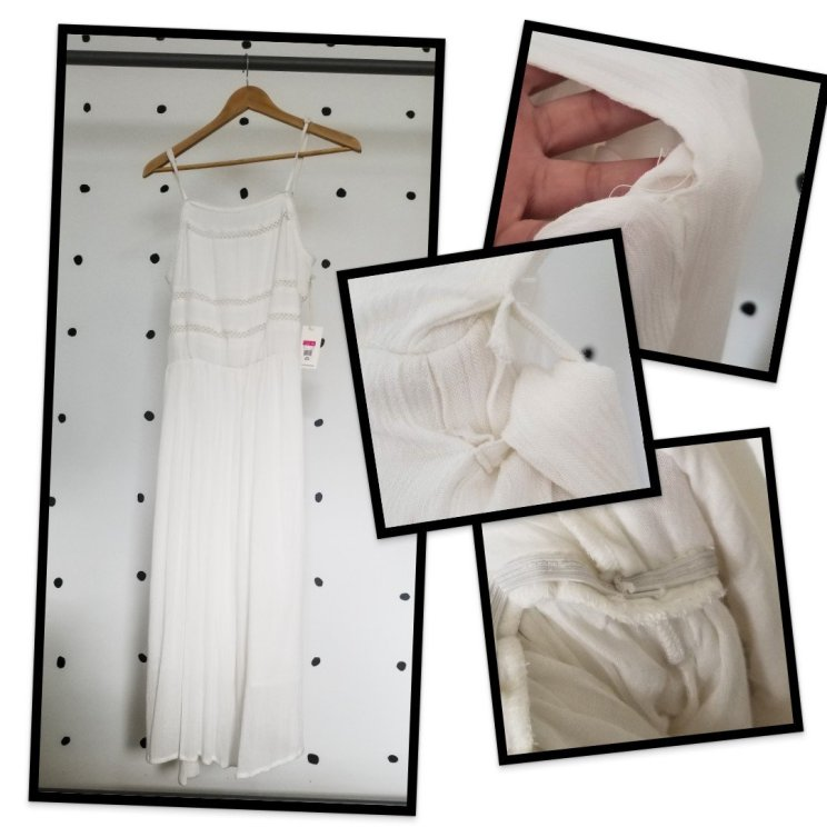 Collage featuring pictures of a poorly-made white dress. Focuses on loose threads, bad stitching, quick production.