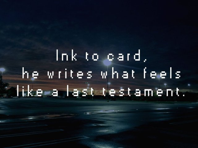 """Image of an empty mall parking lot with an excerpt from the short story, MODERN RUINS: """"Ink to card, he writes what feels like a last testament."""""""