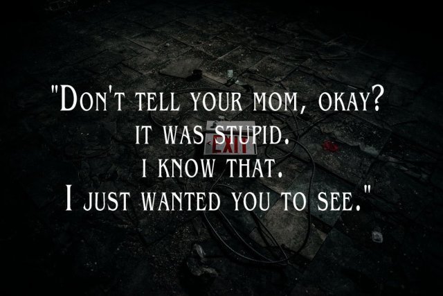 "Image of a broken EXIT sign on a dirty floor with a caption from the short story, MODERN RUINS: ""Don't tell your mom, okay? It was stupid. I know that. I just wanted you to see."""