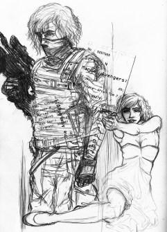 Winter Soldier and Black Widow, Sketchbook 2015