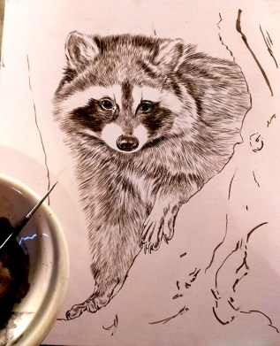 New Wildlife Painting in Progress, Sepia Stage, Rebecca Latham