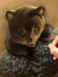 Bear cub watercolor work in progress Rebecca Latham