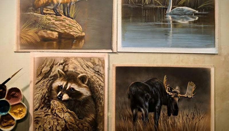 Red Fox, Raccoon, Trumpeter Swan, Moose, 6x8, Works in Progress, Watercolor, Rebecca Latham