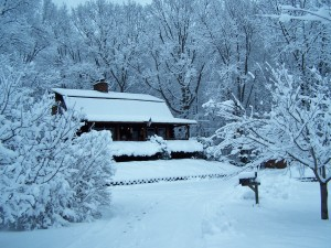 log home snow