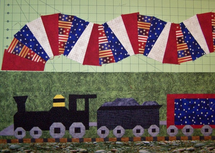 train quilt row robin