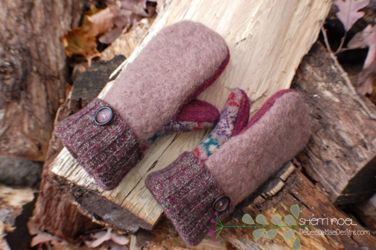 felted wool mittens brown