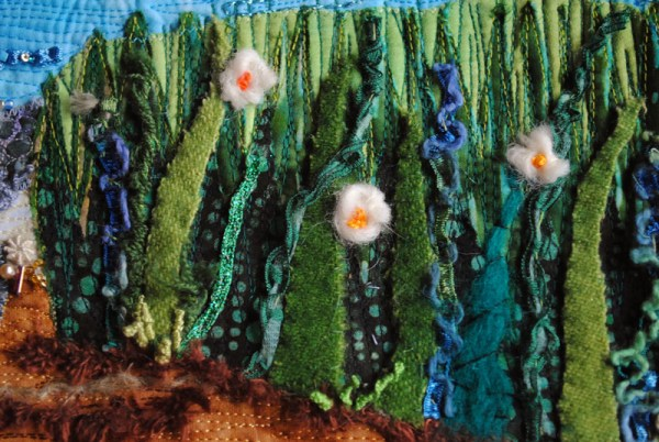 landscape quilt of seashore beach