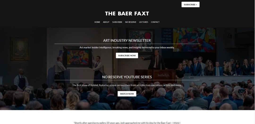 Art newsletter website