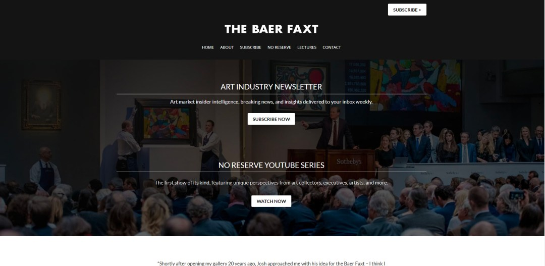 Art newsletter website