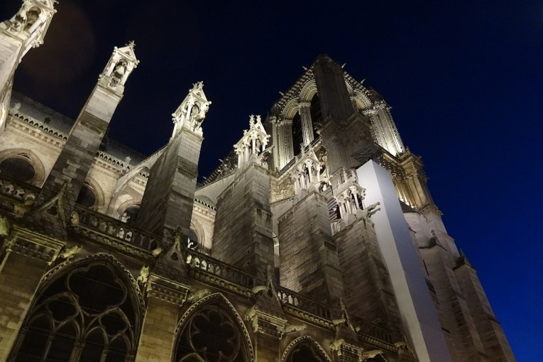 Notre Dame  Cathedral buttresses at night