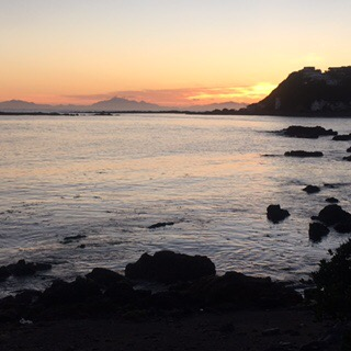Fantastic sunset from Island Bay, Wellington across the Cook Strait to the Kaikouras
