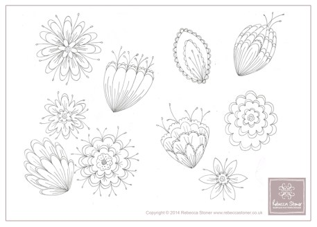 Tropical Flower sketches © Rebecca Stoner www.rebeccastoner.co.uk