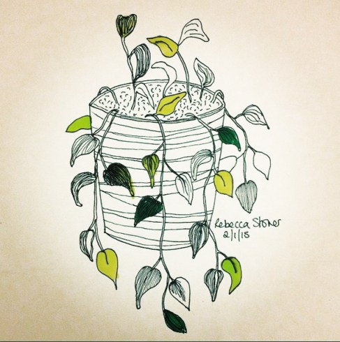 House Plant by Rebecca Stoner www.rebeccastoner.co.uk from the #artdaily2015 project on Instagram