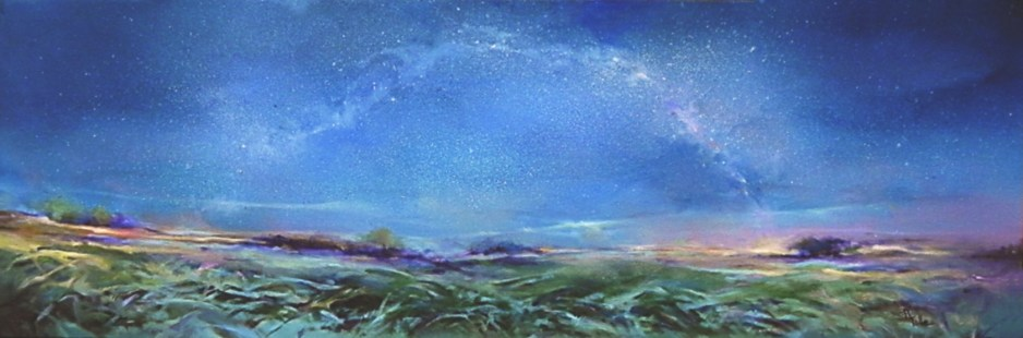 """SOLD """"The Stars Above"""", oil on canvas, 12""""x36"""""""