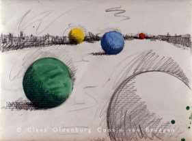 Proposed Colossal Monument for Central Park, N.Y.C. – Moving Pool Balls 1967 Pencil and watercolor 22 x 30 in. (55.9 x 76.2 cm)