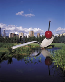 Minneapolis Sculpture Garden, Walker Art Center, Minneapolis Stainless steel and aluminum painted with polyurethane enamel 29 ft. 6 in. x 51 ft. 6 in. x 13 ft. 6 in. (9 x 15.7 x 4.1 m) Commissioned February 1985