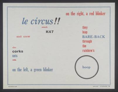 Poster Poem (Le Circus) 1964 Ian Hamilton Finlay 1925-2006 Bequeathed by David Brown in memory of Mrs Liza Brown 2003 http://www.tate.org.uk/art/work/P11923