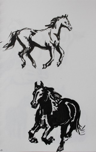 Horses inkbrush1