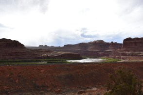 Train tracks pass next to Corona Arch and along the Colorado River - what a view for a lucky conductor!