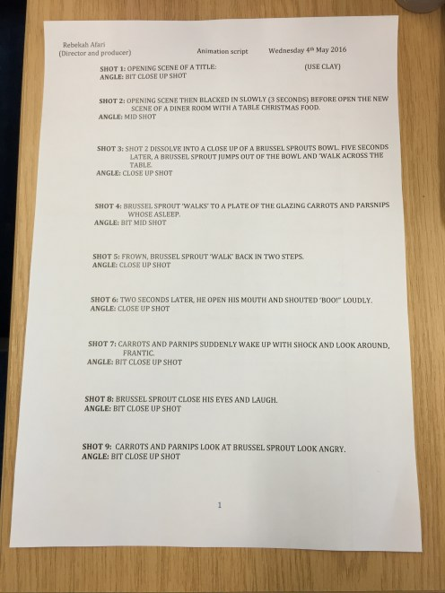 Page 1: animation script