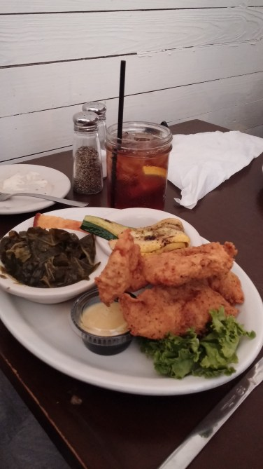 Yard Bird Tenders with Collard Greens, Grilled Zucchini and Squash