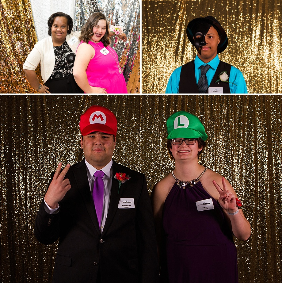 prom goers having fun in Heather's photo booth