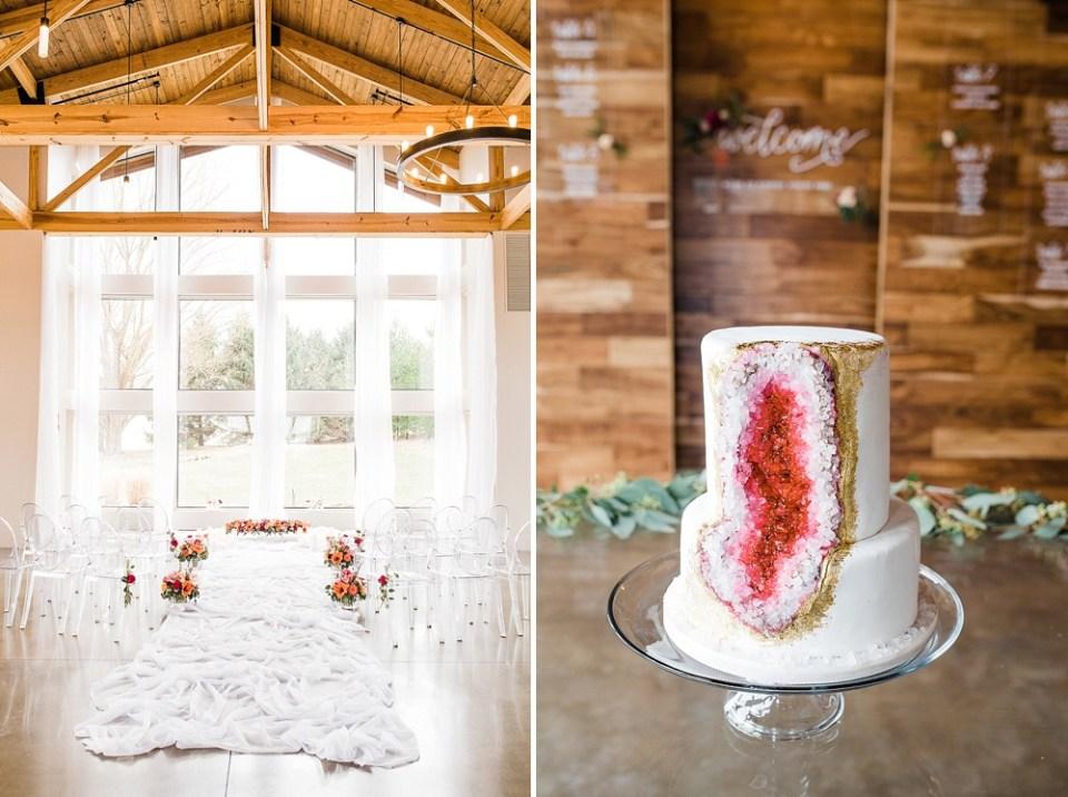 Illinois wedding venue with geode cake