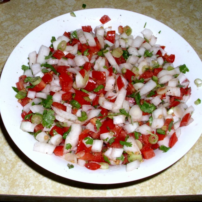 First pico de gallo with homegrown tomatoes and jalapeno!