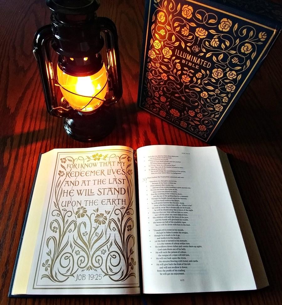 ESV Illuminated Bible, open to Job 19 illustration, slipcase, oil lamp