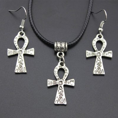 silver ankh earrings and cord choker necklace rebeljewel