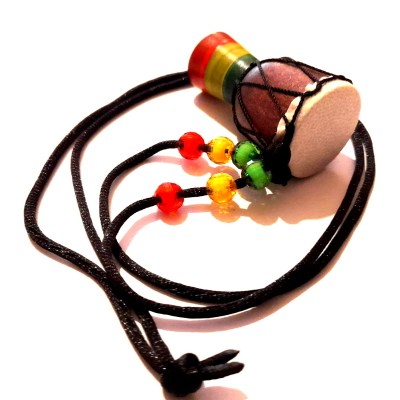rasta beads djembe talking drum rebel jewel rebeljewel culture ethnic africa black cord necklace