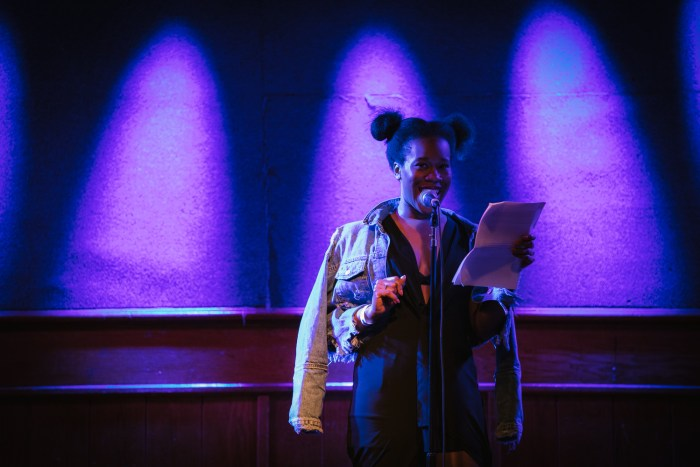 Britt Julious at the Feminist Happy Hour anniversary show