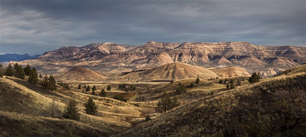 One of my favorite earlier landscapes—this was taken in the John Day fossil Beds National Monument when there was a break in the clouds that allowed the golden morning light through to light up Sutton Mountain. The light was only around for a couple minutes before being shut away by the clouds.