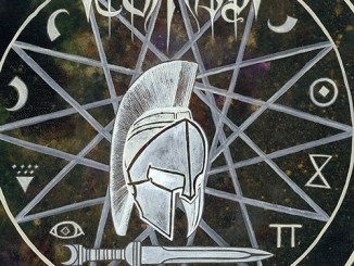 "Tombs' ""The Grand Annihilation Album cover - Spartan helmet in center of a star and a sword at the bottom"