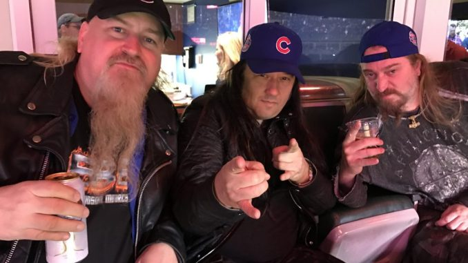 Scott Davidson with Testament members Eric Petersen and Greg Christian