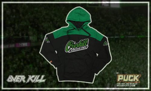 Overkill hoodie, black and green in color