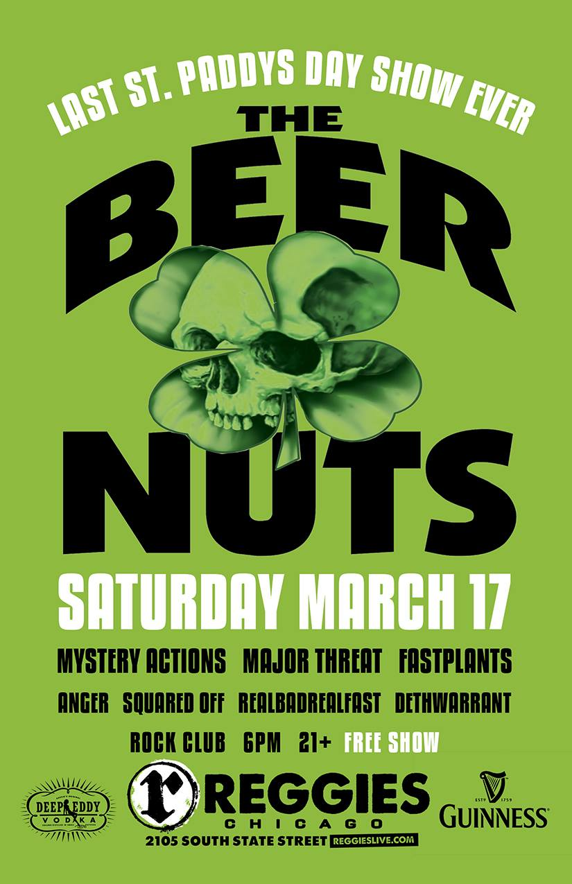 The Beer Nuts at Reggies on March 17, 2018, Free show, sponsored by Rebel Radio
