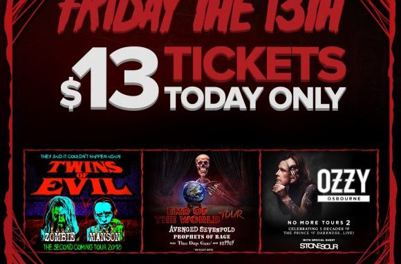 LiveNation Sells Zombie, Ozzy, Avenged Tickets for $13, This Friday the 13th ONLY!